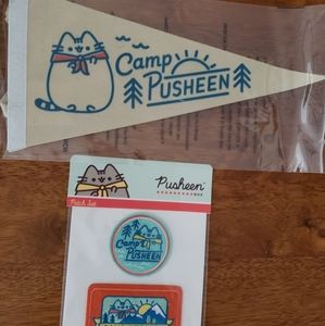 Camp Pusheen box pennant and patches